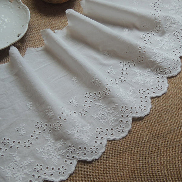 3 Yards of 20cm Width Vintage Cotton Embroidered Floral Lace Fabric Eyelet Trim