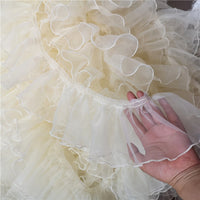 10cm Width x 4 Yards Length Organza Ruffled Pleated Lace Fabric Trim