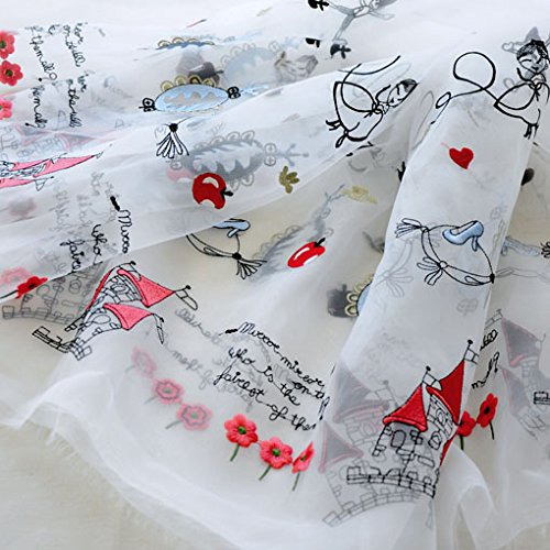 "52"" Width Princess and Castle 3D Embroidered Organza Lace Fabric by the Yard"