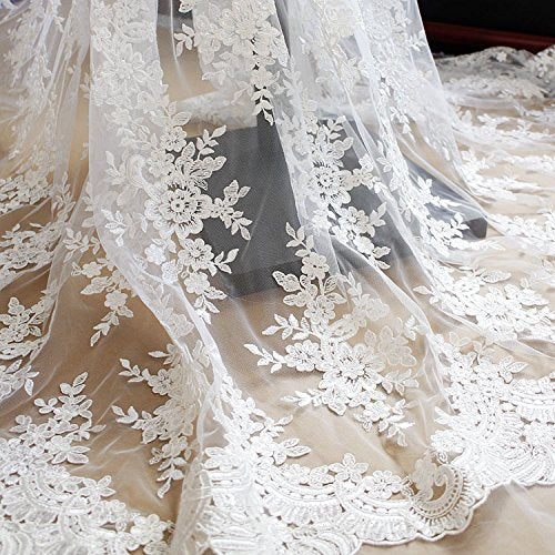 "51"" Width Off-white Floral Embroidery Mesh Lace Fabric with Sequins, Beaded Bridal Wedding Tulle Lace Fabric by the Yard"