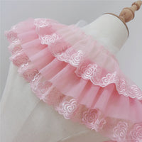 3 Yards Premium Rose Floral Embroidery Ruffle Lace Frill Lace Pink Lace