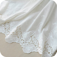 "51"" Width Retro Floral Embroidery Lace Cotton Fabric by the yard"