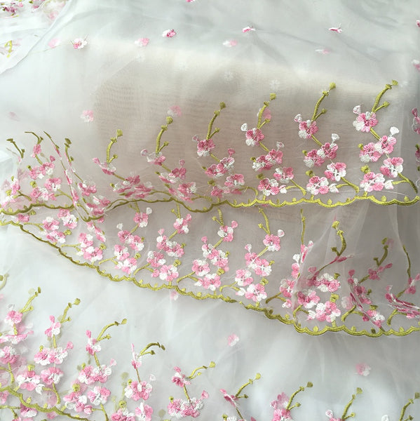 "51"" Width White Organza Pink Floral Embroidery Lace Fabric by the Yard"