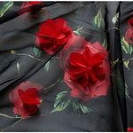 "55"" Width Chiffon 3D Red Rosette Appliques Bridal Dress Fabric by the Yard"