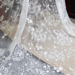 "53"" Width Off White Floral Embroidery Mesh Lace Fabric With Sequins Dotted Wedding Dress Bridal Tulle Lace Fabric By the yard"