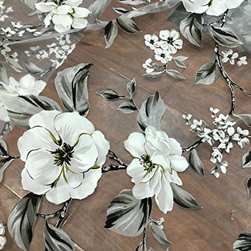 "55"" Width Organza Vintage Botanical Floral Print Fabric by the Yard"