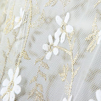 "49"" Width 3D Golden Thread Micro Fibre Floral Embroidery Lace Fabric by the Yard"