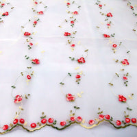 Premium Rose Embroidered Organza Lace Floral Fabric- By the Yard