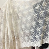 "53"" Width Classical Symetrical Branch Flowers Embroidered Lace Fabric by The Yard Off-White"