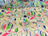 2.8 Meters Width Abstract Floral Print on Organza Art Fabric by the Yard