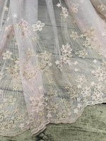 "51"" Width Arc Lines Embroidered Floral Lace Fabric by the Yard"