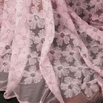 125cm Width x 95cm Length Premium Sequin 3D Abstract Poppy Floral Embroidery Lace Fabric