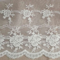 3 Yards of 20cm Width Retro Floral Embroidered Mesh Lace Fabric Trim