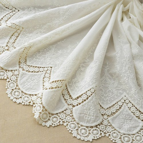 "51"" Width Vintage Floral Embroidered Cotton Lace Fabric by the Yard"