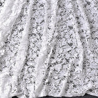 "59"" Width Off White Embroidery Lace Fabric with 3D Flowers by the Yard"