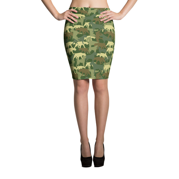 CAMO green pencil skirt