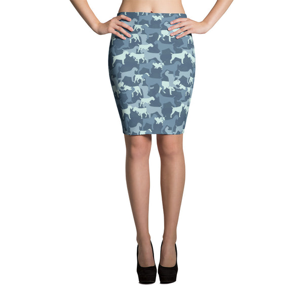 CAMO blue pencil skirt