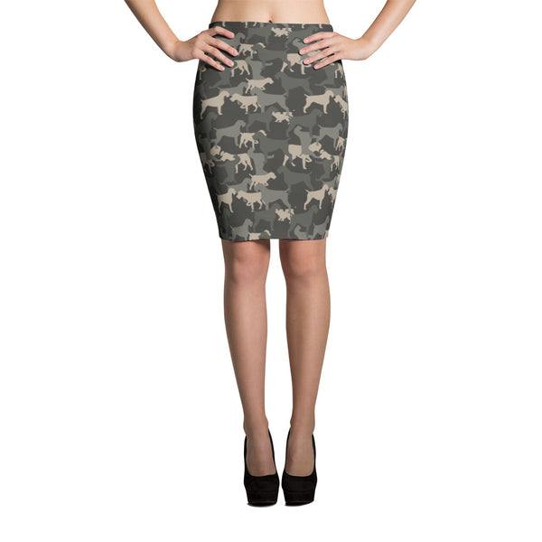 CAMO neutral pencil skirt