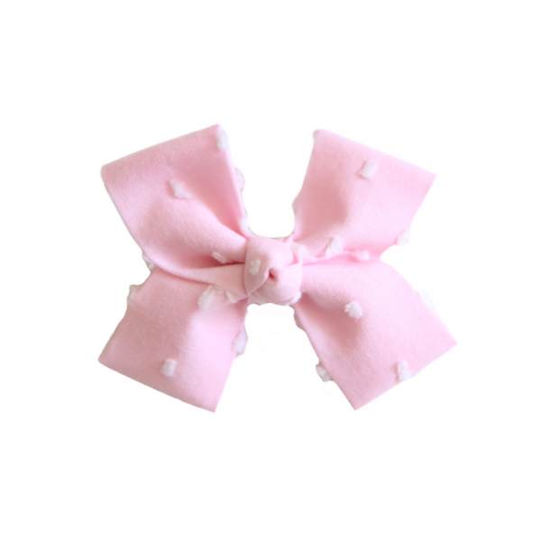 Small Pink Swiss Dot Loop Bow Clip