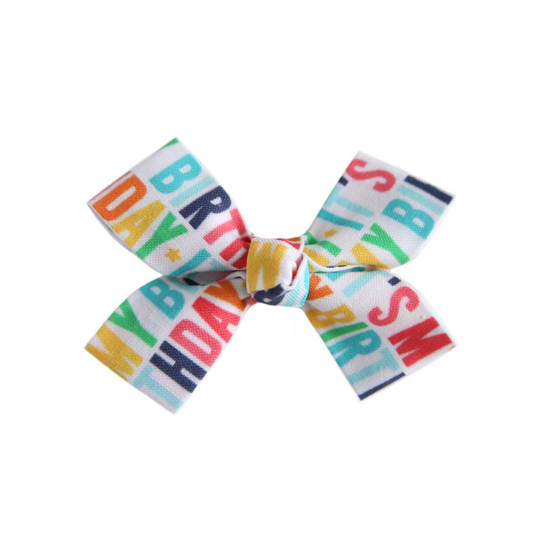 Small Birthday Loop Bow Clip