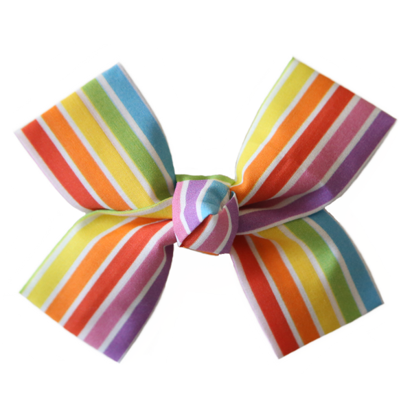 Large Vibrant Rainbow Loop Bow Clip