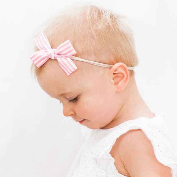 Pink and White Stripe Loop Bow Headband
