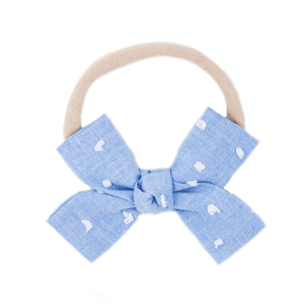 Blue Swiss Dot Loop Bow Headband