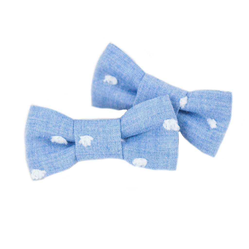 Blue Swiss Dot Pigtail Set