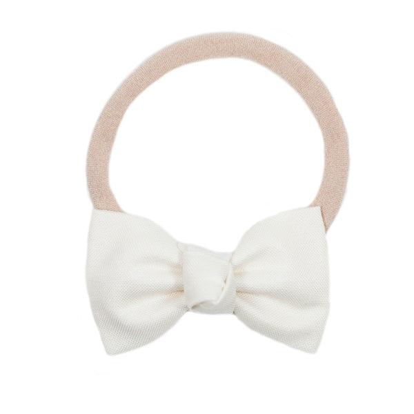 Petite Cream Bow Headband