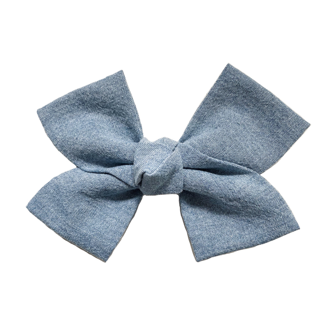 Large Chambray Loop Bow Clip