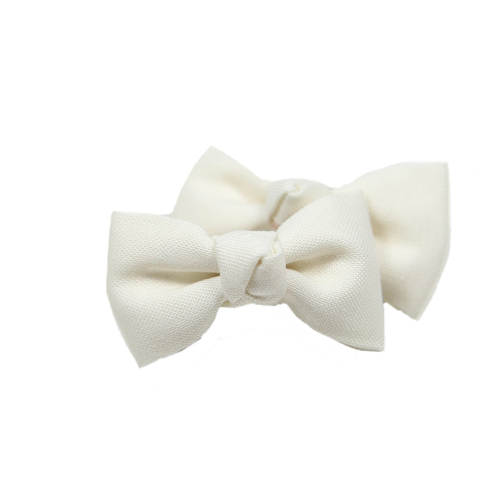 Cream Pigtail Bow Clips