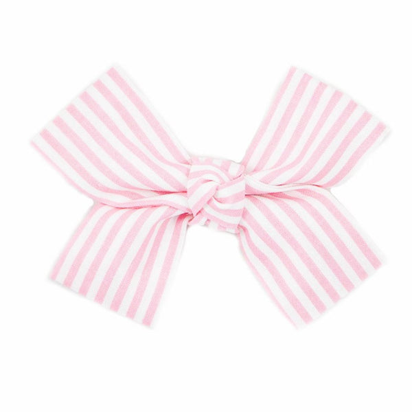 Large Pink and White Stripe Loop Bow Clip