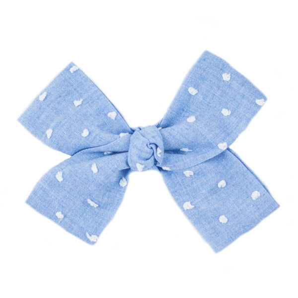 Large Blue Swiss Dot Loop Bow Clip