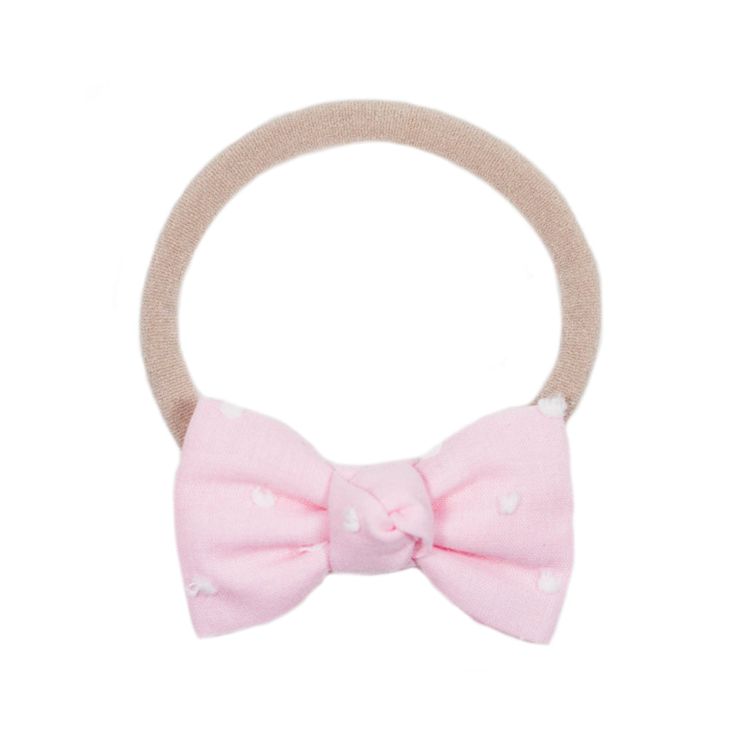 Petite Pink Swiss Dot Bow Headband