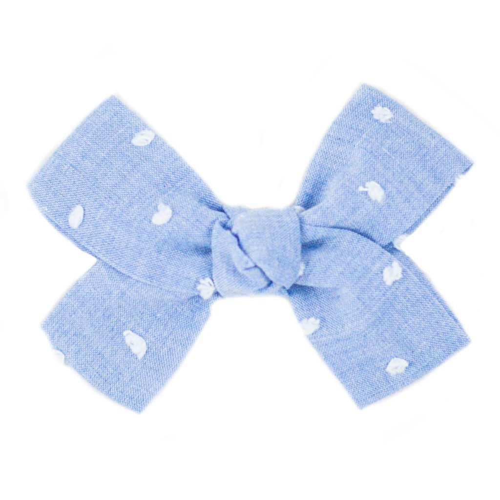 Small Blue Swiss Dot Loop Bow Clip