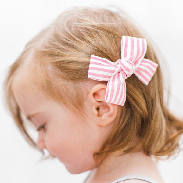Pink and White Stripe Small Loop Bow Clip