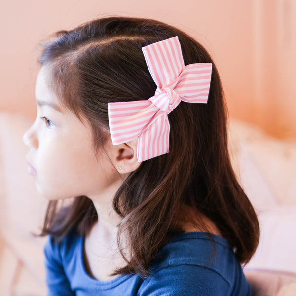 Pink and White Large Stripe Loop Bow Clip