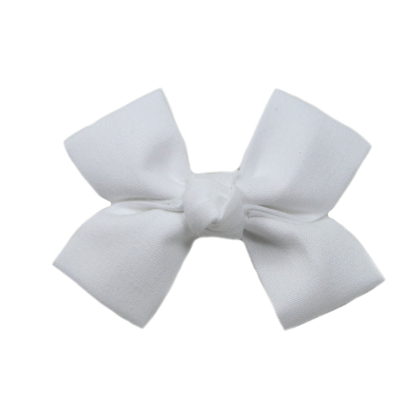 Small White Loop Bow Clip
