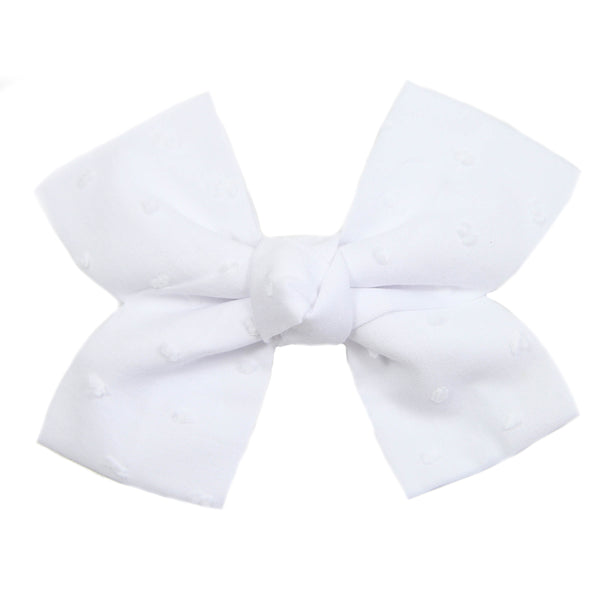 Large White Swiss Dot Loop Bow Clip