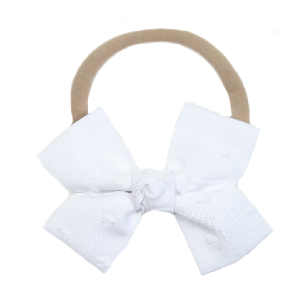 White Swiss Dot Loop Bow Headband