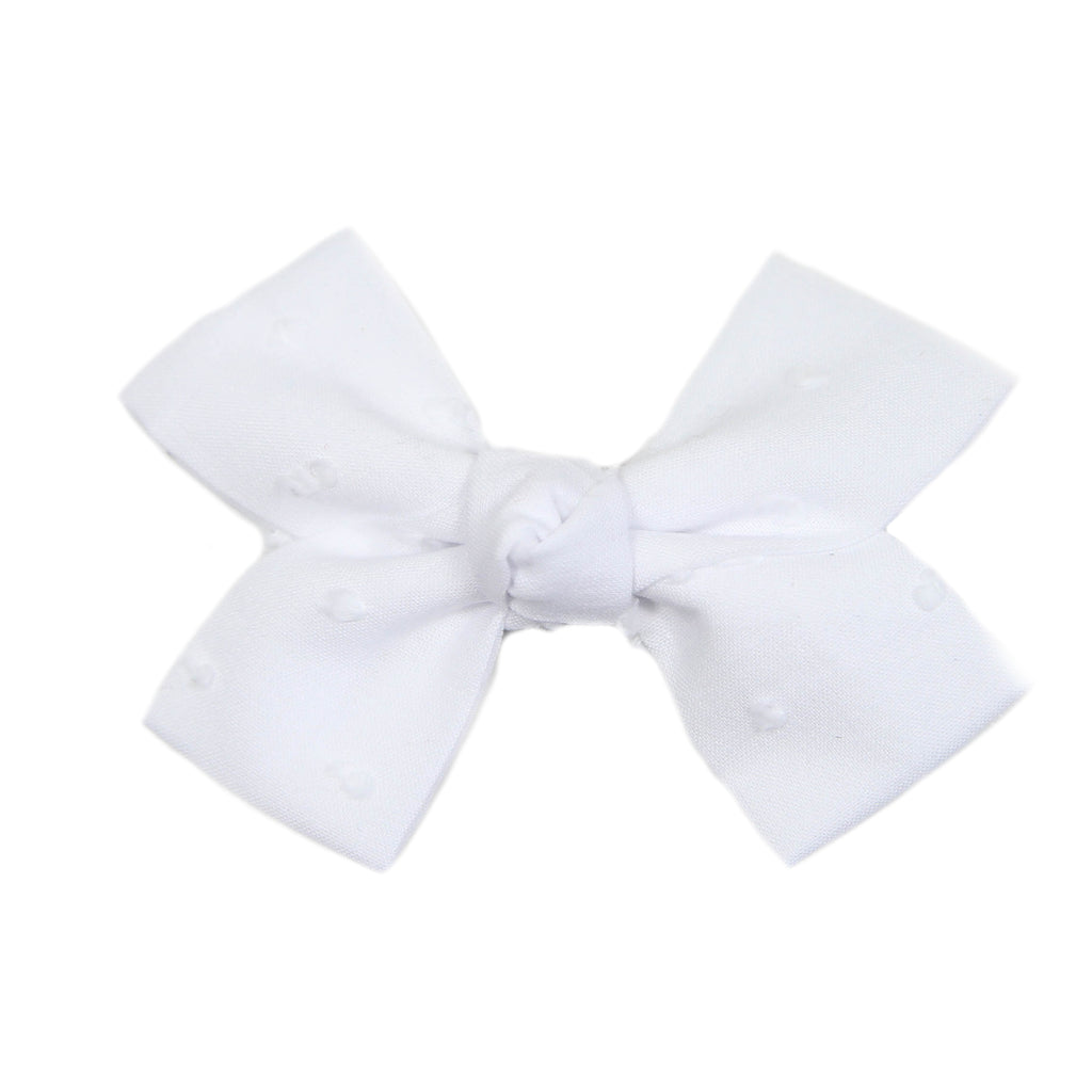 Small White Swiss Dot Loop Bow Clip