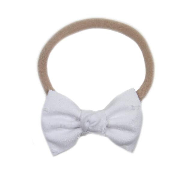 Petite White Swiss Dot Bow Headband