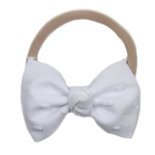 White Swiss Dot Signature Bow Headband