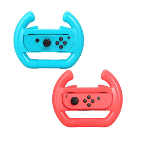 Switch Wheel, Proslife Dobe Joy Con Steering Wheel Grips for Switch Controller(2 Pack, Neon Red/Blue)