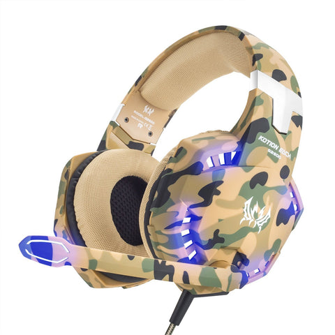 VersionTech Stereo Gaming Headset for PS4 Xbox One, Professional 3.5mm Over Ear Headphones with Mic and Volume Control, Stunning LED Lights for Laptop PC Mac iPad and Smart Phones -Camouflage