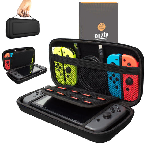 Orzly Carry Case Compatible With Nintendo Switch - BLACK Protective Hard Portable Travel Carry Case Shell Pouch