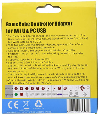 Mayflash GameCube Controller Adapter for Wii U and PC USB, 4 Port