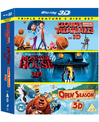 Cloudy With a Chance of Meatballs/ Monster House / Open Season Triple Pack 3D