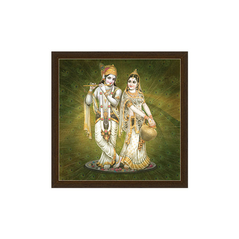 Radha Krishna Canvas Frame in Peacock BacGmround By Returnfavors - Return Favors