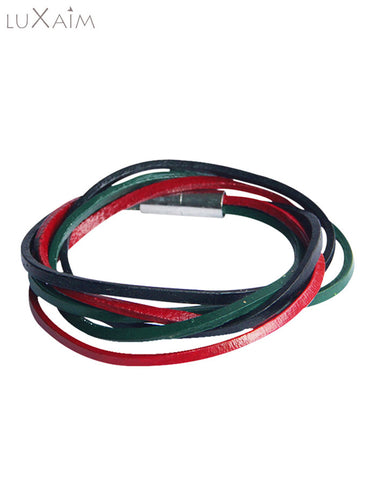Copy of Casual Unisex Zinc Alloy PU Leather Maroon,Green And Black,Stripped Bracelet - Return Favors - 1